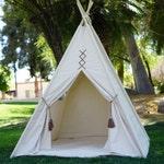 Original teepee, kids teepee with nature canvas and leather tassel Door Ties