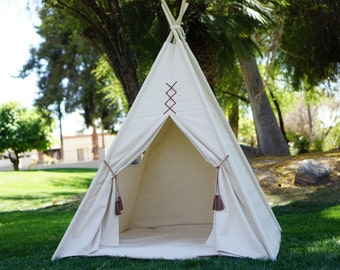 Original teepee, kids teepee with nature canvas and leather tassel Door Ties