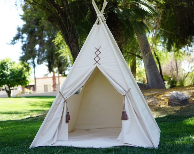 Featured listing image: Original teepee, kids teepee with nature canvas and leather tassel Door Ties