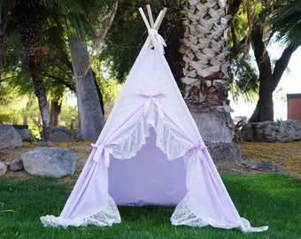 Purplecious teepee, kids Teepee, tipi, Play tent, wigwam or playhouse with extra long ruffle