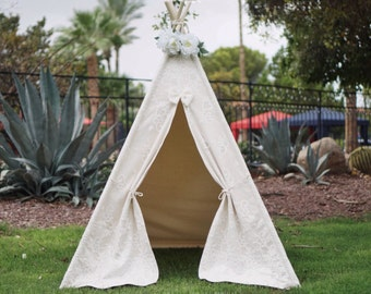 Grace lace teepee tent with nature canvas/kids Play tent/ girls lace Tipi Wigwam or Playhouse prop tent