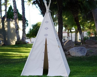 "AZTEC 36"" kids teepee with window /hand print kids play tent/ kids fort/ children play tipi"