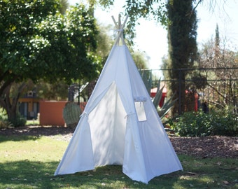 CANOPY 36'' kids Teepee in white canvas/ canvas Play tent / Tipi Wigwam or Playhouse with door Ties