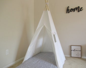 CANOPY 36'' kids Teepee with a window for toddler mattress in white canvas/ canvas Play tent / Tipi Wigwam or Playhouse with door Ties