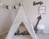 Original Pompom teepee with whole piece wood poles, kids Teepee, tipi, Play with nature canvas and Overlapping front doors