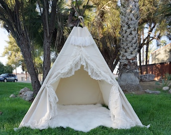 XL/XXL Shabby-chic teepee, 8ft kids Teepee, large tipi, Play tent, wigwam or playhouse with canvas and Overlapping front doors