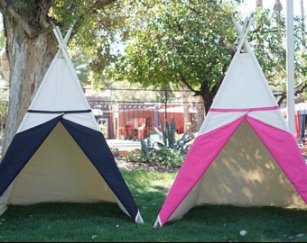 Two-tone canvas kids teepee with window / kids play tent/canvas Tipi with overlapping front doors