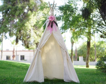 CANOPY 36'' kids Teepee on unbleached canvas/ canvas Play tent / Tipi Wigwam or Playhouse with door Ties