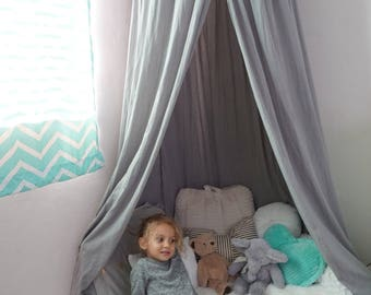 Play canopy in silver/ hanging tent/ reading nook canopy/hanging canopy