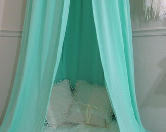 Play canopy in mint cotton/ hanging tent/ reading nook canopy/hanging canopy