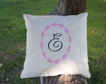 Monogram pillowcase with ivy ring in nature canvas base and multi-color choice