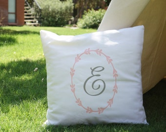 Monogram pillowcase with ivy ring in white canvas base and multi-color choice
