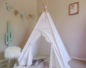 White Vintage teepee with window, kids Teepee, tipi, Play tent, wigwam or playhouse with canvas and Overlapping front doors