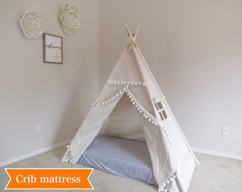 Pompom crib mattress teepee, tent bed canopy, teepee canopy for bed, kids Teepee, tipi, Play tent,with canvas and Overlapping front doors