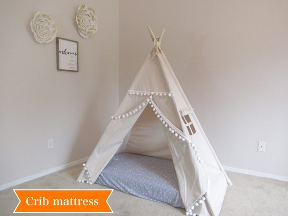 online retailer 85415 d12da Pompom crib mattress teepee, tent bed canopy, teepee canopy for bed, kids  Teepee, tipi, Play tent,with canvas and Overlapping front doors