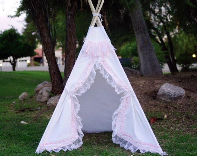 Featured listing image: White shabby-chic lace teepee tent/ white canvas and pink lace kids Play tent/ girls canvas & lace Tipi ruffle photo pro