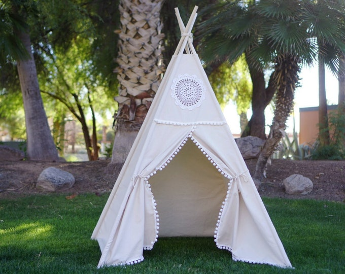 Featured listing image: Teepee, Vintage teepee, kids Teepee, tipi, Play tent, wigwam or playhouse with canvas and Overlapping front doors