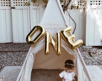 Boho teepee, kids Teepee, tipi, Play tent, wigwam or playhouse with crochet fringe and Overlapping front doors