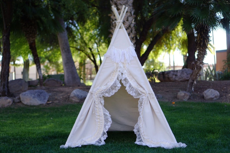 Shabby-chic teepee with canvas base and lace trim kids image 0