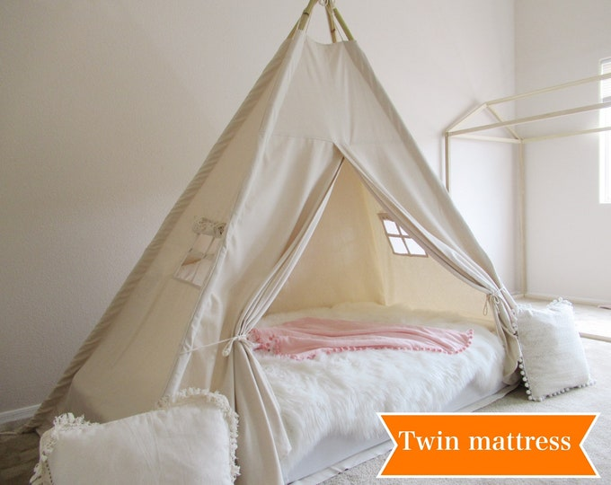 Featured listing image: Plain Bed teepee with higher standing room,  tent bed canopy, kids teepee bed, tent bed canopy