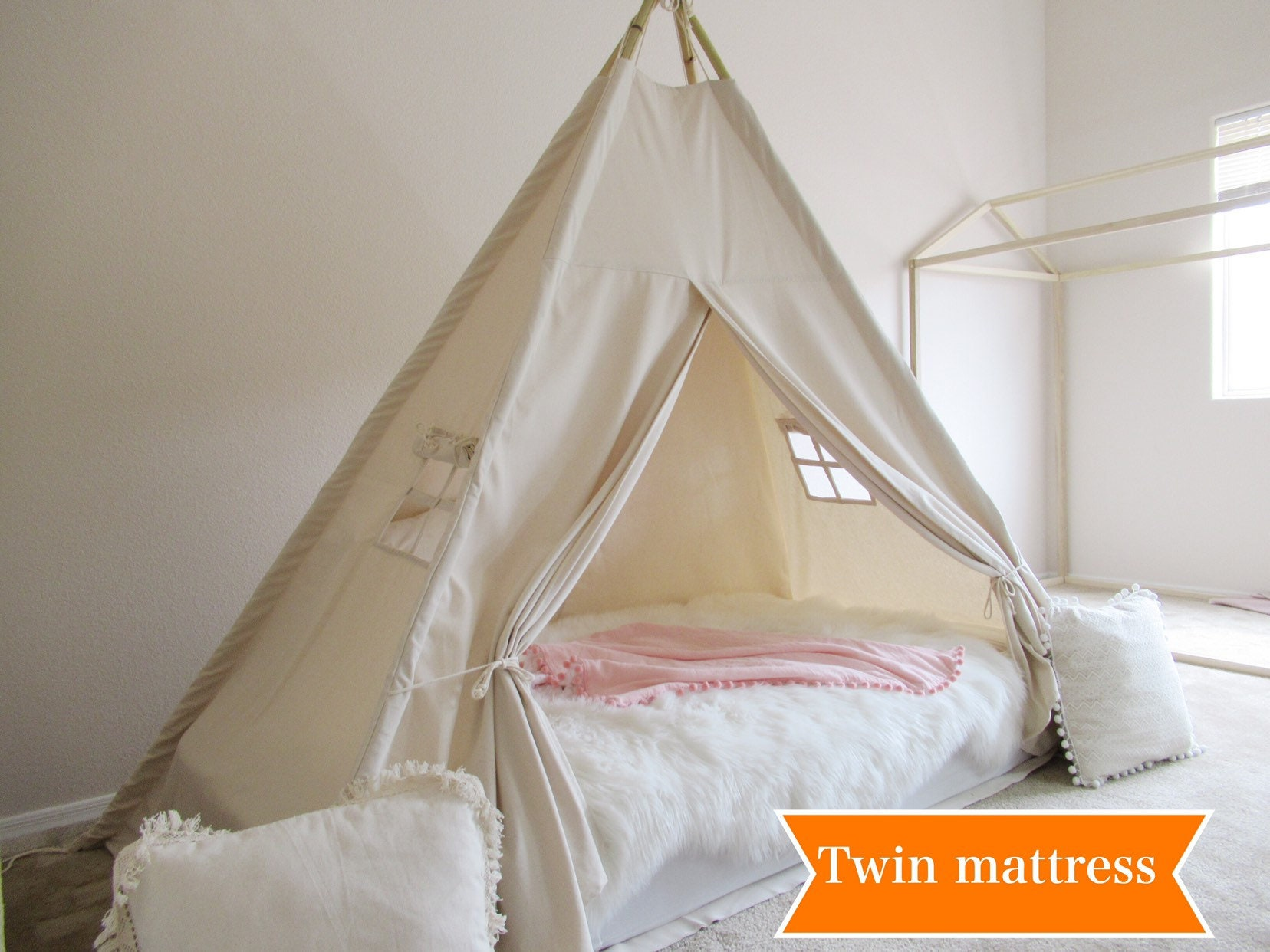 - Plain Bed Teepee With Higher Standing Room, Tent Bed Canopy, Kids