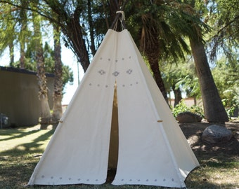 XL AZTEC teepee, 8ft pole kids Teepee, beach teepee, large tipi, Play tent, wigwam or playhouse with canvas and Overlapping front doors