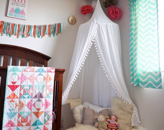 Featured listing image: Pompom Play canopy in white cotton / hanging tent/bed canopy/ hanging canopy