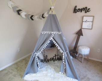 Pompom teepee with window, grey teepee, kids Teepee, tipi, Play tent, wigwam or playhouse with Overlapping front doors