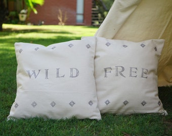BE hand stamped pillow cover with nature unbleached canvas