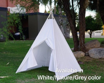 Teepee White with window kids Teepee with nature canvas and Overlapping front doors