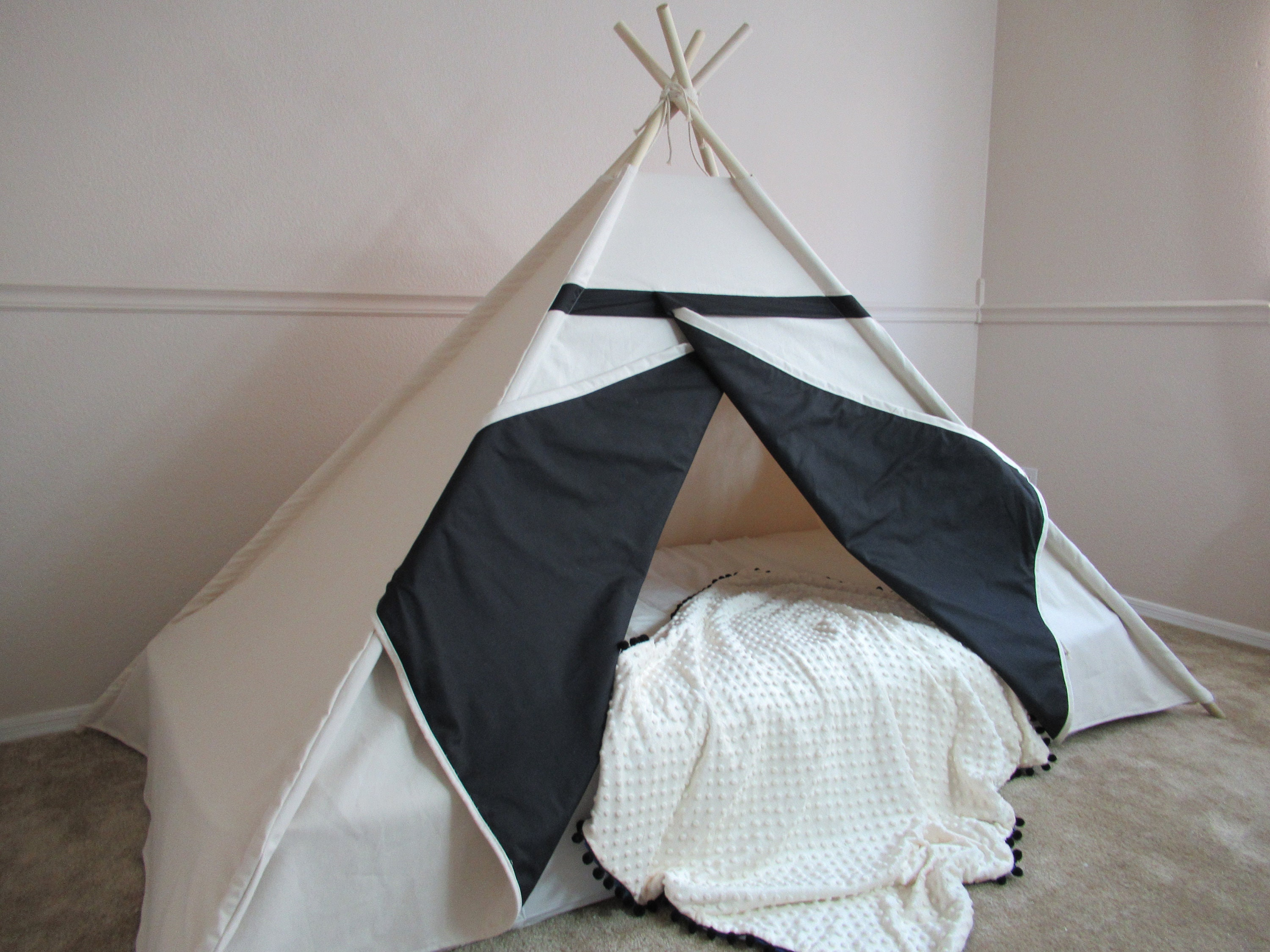 Two-tone bed canopy teepee with flap window tent bed canopy teepee canopy for bed kids Teepeewith canvas and Overlapping front doors & Two-tone bed canopy teepee with flap window tent bed canopy teepee ...