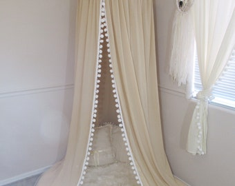 Pompom Play canopy in taupe cotton / hanging tent/bed canopy/ hanging canopy
