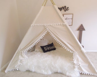 Pompom Bed teepee with higher standing room,  tent bed canopy, kids teepee bed, tent bed canopy