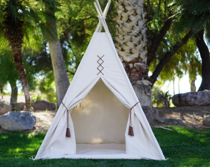Featured listing image: Original teepee with window, kids teepee in nature canvas and leather tassel Door Ties