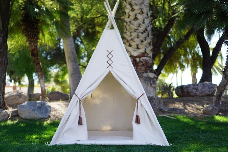 Original teepee kids teepee with nature canvas and leather image 0