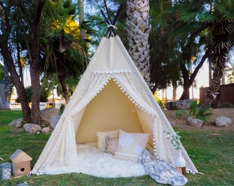 XL/XXL pocahontas lace teepee, 8ft pole kids Teepee, large tipi, Play tent, wigwam or playhouse with canvas and lace