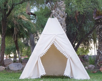 XL/XXL Pompom teepee, 8ft pole kids Teepee, large tipi, Play tent, wigwam or playhouse with canvas and Overlapping front doors