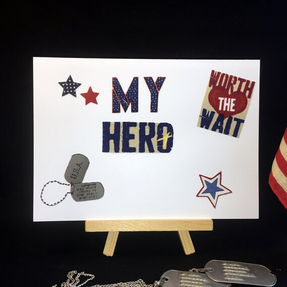 Us Military Card Handmade Recycled Fabric Greeting Card Usa Etsy