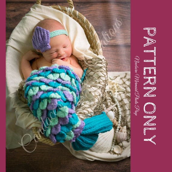 Crochet Pattern Newborn Mermaid Photo Prop Pattern Mermaid Etsy