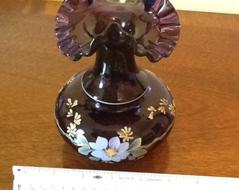 SALE Royal Purple Fenton Vase Hand Painted by M Young Signed by Don Fenton