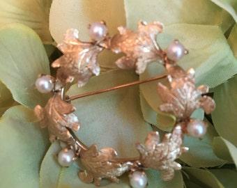 Gold 14k Pearl Leaf Wreath Pin Brooch