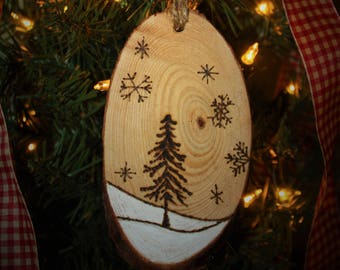 Rustic Wood Slice Woodland Scene Christmas Ornament