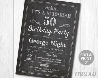 Surprise 50th Birthday Invitations FIFTY Invite Chalk Board Party INSTANT DOWNLOAD Adult 50 Mens Womens Male Digital Printable Personalize