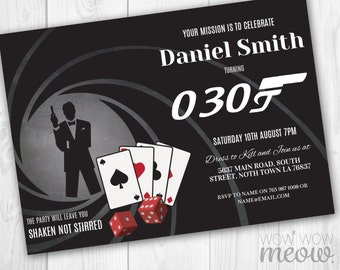 007 party invitation etsy