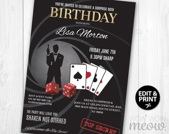 007 invite etsy surprise birthday invite spy secret agent invitation instant download party editable elegant james bond birthday personalize edit editable stopboris Choice Image