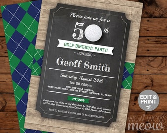 Golf Birthday Invites Wood Argyle Green Blue Invitations INSTANT DOWNLOAD 30th 40th 50th 60th 70th Mens Golfing Sports Editable Printable