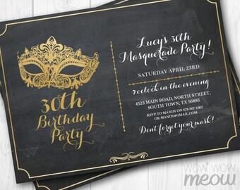 MASQUERADE Party Gold Mask Invitation Elegant Birthday Invite Chalk Board 30th 40th 50th 60th Any Age INSTANT DOWNLOAD Editable Printable