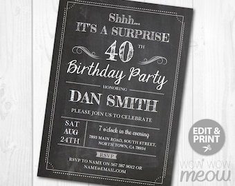 Surprise 40th Birthday Invitations FORTY Invite Chalk Board Party INSTANT DOWNLOAD Adult 40 Mens Womens Male Digital Printable Personalize