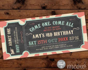 Circus Invitations Carnival Invite Vintage Ticket Peach ANY Age Mint Boys Girls Party INSTANT DOWNLOAD Fun Editable Personalize Printable