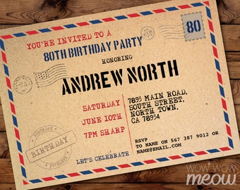 Postcard invitations etsy 80th invitations envelope postcard invite birthday mail post 80 eighty rustic instant download any age mens womens printable personalize filmwisefo